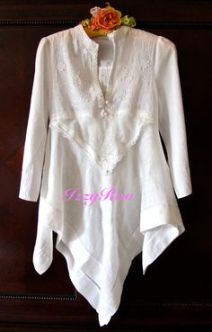 A tablecloth, a handkerchief, a cut off top and bridal trim = vintage style tunic dress.