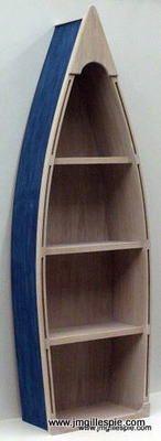 5 Foot Row Boat Bookshelf Bookcase Shelves Skiff Schooner Canoe Shelf Nautical