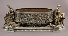 126: French gilt bronze silvered jardiniere centerpiece : Lot 126