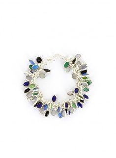 Bracelet argenté à pampilles bleues et vertes