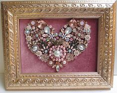 Jeweled Framed Jewelry Art Flower Bouquet Miniature Gray Silver Black Vintage Rhinestones Fabulous Jeweled Framed Jewelry Art Valentine Heart Rose Pink Gold Rhinestone Fabulous Jeweled Framed Art JewelrBeautiful framed jewelryVintage jewelry collage a Costume Jewelry Crafts, Vintage Jewelry Crafts, Recycled Jewelry, Jewelry Frames, Jewelry Art, Beading Jewelry, Jewelry Ideas, Jewlery, Button Art