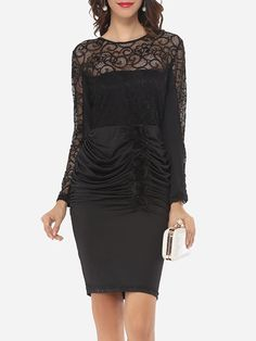 Zips Round Neck Dacron Lace Bodycon Dress