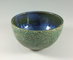 Blue and Green Sgraffito Pottery Bowl Pottery by ZwellynPottery