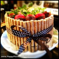 Candy Barrel Cake with Pirouette Cookies & Chocolate Dipped Strawberries