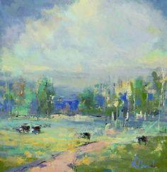 Veils of Blue  Artist Noah Desmond  Subject Pastoral Landscapeh4>  Medium Oil on Canvas  Category Painting  Circa 2013  Dimensions H 3...