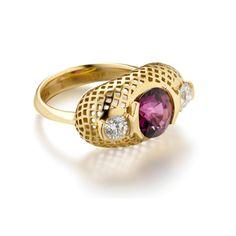 Pink Tourmaline Crownwork Ring with Diamonds