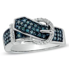 1/2 CT. T.W. Enhanced Blue and White Diamond Belt Buckle Ring in 10K White Gold  Orig. $879.00  Now $747.15