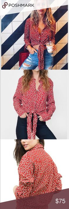 Faithfull the brand red hask bow blouse Faithfull the brand red hask bow blouse Faithfull the Brand Tops