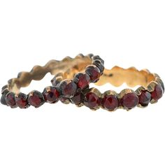 Victorian Sterling Gilt Bohemian Garnet Ring Set