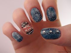 how to: denim nail art <3