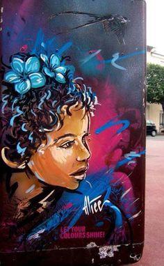Painted street art by Italian artist Alice Pasquini