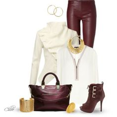 Dark Red pants, cream top and cream jacket, red shoes