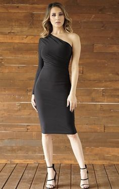 Beautiful one sided long sleeve dress! Ruched front detail Thick material w/ stretch Double lined Not see through at all Slip on True to size w/ stretch In between sizes? We recommend to go up a size Material: Polyester, Spandex Mature Fashion, Beautiful One, See Through, Strapless Dress, Feminine, Slip On, Dresses With Sleeves, Boutique, Formal Dresses