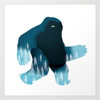 Illustration / Yeti at Night Art Print by Ryan Snook Creative Illustration, Graphic Design Illustration, Illustration Art, Graphic Art, Collages, Dragons, Cute Monsters, You Draw, Illustrations Posters