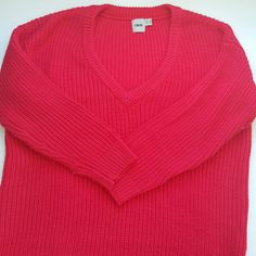 """US 4 ASOS sweater Red knit sweater, longer length, minor pilling on arms. Very bright! Measurement taken from seam at arm pit to bottom is 20"""". ASOS Sweaters V-Necks"""