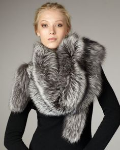 Fox Stole, Silver  by Sofia Cashmere at Bergdorf Goodman.