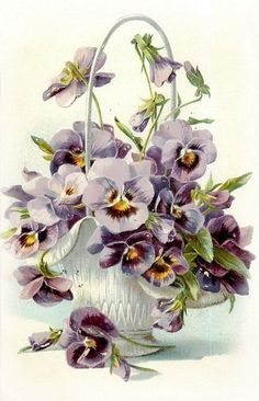 ВИНТАЖ. Распечатаю на любой бумаге. Для декупажа. Gorgeous colours and composition here, love pansies :)