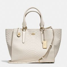 Coach :: International CROSBY CARRYALL IN PYTHON EMBOSSED LEATHER No.35335 Light Gold/Chalk