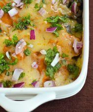 Chicken Spinach Enchilada Casserole  http://chindian.kitchen/chicken-spinach-enchilada-casserole/