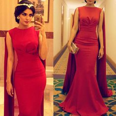 Red Dubai Evening Dress with Floor Length Shawl Mermaid Arabic Evening Gowns Fishtail Kaftan Long Prom Dress With Cape-in Evening Dresses from Weddings & Events on Aliexpress.com | Alibaba Group