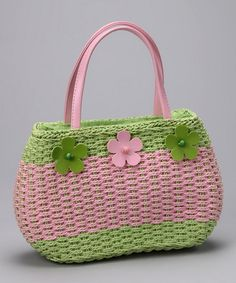 Take a look at this Lime & Pink Woven Flower Satchel - Girls by Madness Jr on #zulily today!