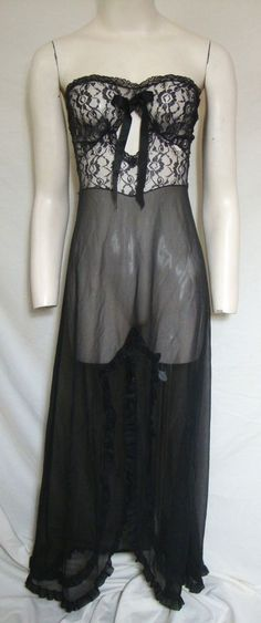 df355bd645 VTG Blanche Sheer Black Nightgown Lace Ruffles Strapless SEXY Lingerie  Medium
