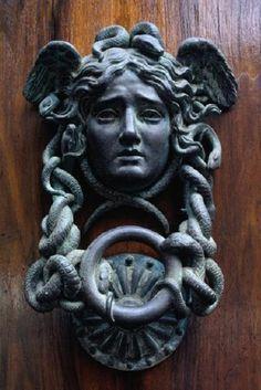 Paris Door Knocker by Antique Door Knockers, Door Knockers Unique, Door Knobs And Knockers, Cool Doors, Unique Doors, Statues, Sculpture Art, Sculptures, Door Accessories