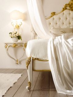 Beautiful French antique tufted headboard with gold gilt edging   tumblr ᘡղbᘠ