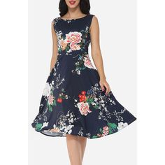 Floral Printed Vintage Round Neck Skater Dress (€33) ❤ liked on Polyvore featuring dresses, holiday party dresses, skater party dress, going out dresses, vintage dresses and floral print dress