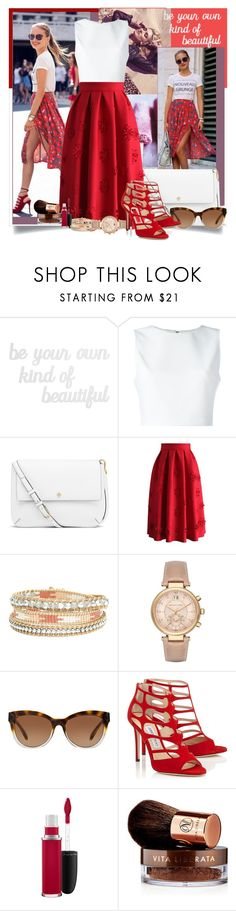 """""""Little touch"""" by saraaalep ❤ liked on Polyvore featuring Streets Ahead, PBteen, Alice + Olivia, Tory Burch, Chicwish, Michael Kors, MAC Cosmetics and Vita Liberata"""