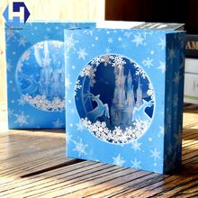 3D Christmas decoration Ice Castle pop up greeting card laser cutting envelope postcard hollow carved handmade kirigami gift(China)