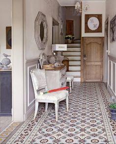 Mesa Bonita has been collecting hydraulic tiles for . Decor, Interior, Home, Living Room Flooring, Interior Spaces, House Interior, Floor Decor, Interior Design, Tiled Hallway