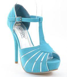 Peep Toe Blue Faux Suede Contrast Detail T-Strap Platform Heels