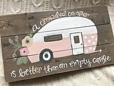 A smaller version of our popular Vintage Camper sign! This sign is approximately… A smaller version of our popular Vintage Camper sign! This sign is approximately 12 x 12 and features stained wood with distressed edges! Painted Wood Signs, Hand Painted, Camping Vintage, Vintage Travel, Do It Yourself Camper, Pintura Exterior, Camper Signs, Vintage Trailers, Vintage Campers