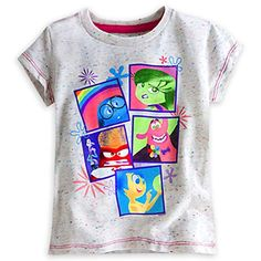 """Disney Store Deluxe Inside Out Tee T Shirt Size Large 9 - 10 Fear Joy Anger Disgust. Authentic and exclusive Disney Store product with reliable quality and durability. Screen art includes Joy, Anger, Sadness, Disgust, Fear, and Bing Bong. Soft jersey knit; Color-speckled fabric; Contrast stitching; Ribbed crew neck. 50% polyester / 37 1/2% cotton / 12 1/2% rayon. Size Large 9/10 for ages 8-9 years old, 63-76 lb and 52-58"""" in height."""