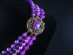 Vintage Selro Selini Purple Necklace with Round Bronze Pendant Clasp / Selini stamp can be seen on the last picture.