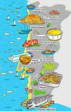Carte régionale des spécialités culinaires du #Portugal | #VocabulaireduPortugal #VDP #vocabulaire #portugais