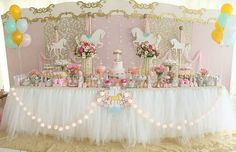 Carnival Themed Party, Carnival Themes, Party Themes, Party Ideas, Carousel Party, Carousel Birthday, Baby Shower Table, Baby Shower Themes, Unicorn Birthday Parties