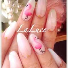 Simple pink flamingo nails