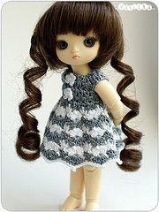 grey dress with a striped skirt (_vasilka_) Tags: doll dress handmade turtle crochet gray clothes brownie bjd puki
