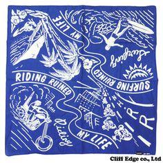Cliff Edge Co. Textile Patterns, Textiles, Bandana Design, Brand Campaign, Logo Design, Graphic Design, Bandana Scarf, Vintage Labels, Tropical Leaves
