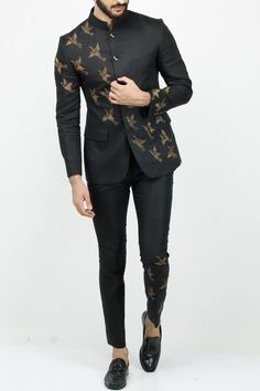 Featuring a black linen bandhgala set with crane hand embroidery. It comes along with matching pants. Fabric: Linen Care Instructions: Dryclean Only Indian Men Fashion, Mens Fashion Suits, Mens Suits, India Fashion Men, Suit For Men, Best Suits For Men, Black Suit Men, High Fashion Men, Ethnic Fashion