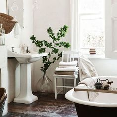 how to transform your bathroom into basically a spa. See our tips via link in our bio! Really obsessed with oversized glass vases!