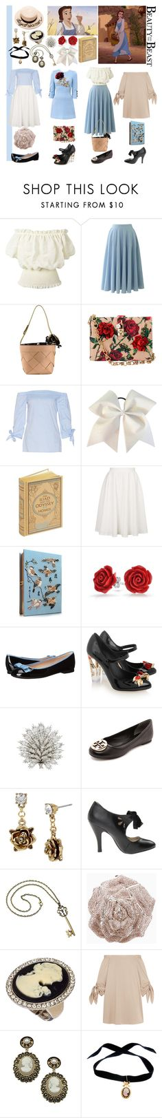 """""""Belle"""" by madameguillotine ❤ liked on Polyvore featuring Dolce&Gabbana, Chicwish, Moschino, Topshop, Olympia Le-Tan, Bling Jewelry, Disney, Furla, Tory Burch and Betsey Johnson"""