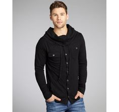 Cohesive black jersey knit cowl neck button front shirt (why is it sold out)