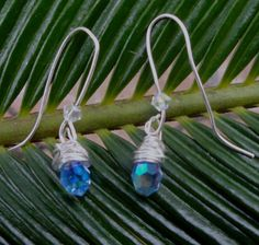Saphire Crystal Wire Wrapped Earrings by EndlessMediums on Etsy, $20.00