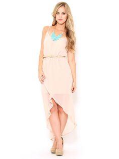 Belted Chiffon High Low #Dress