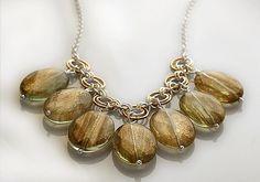 Handmade statement necklace by Pako korut.  Käsintehty  #kaulakoru hopeasta sekä pronssista, helminä isoja kvartseja.