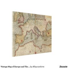 Vintage Map of Europe and The Mediterranean (1569) Canvas Print