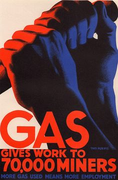 Gas - gives work to 70,000 miners - poster by Tom Purvis, 1936 by mikeyashworth, via Flickr